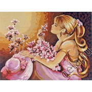"""Канва/ткань с нанесенным рисунком Diamant """"Розовые мечты"""""""
