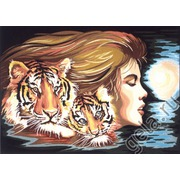 """Канва/ткань с нанесенным рисунком Diamant """"Женщина-Тигр"""""""
