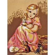 """Канва/ткань с нанесенным рисунком Diamant """"Малышка в розовом и котята"""""""