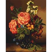 """Набор для вышивания крестом Luca-S """"Ваза с розами и цветами"""""""