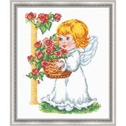 """Набор для вышивания крестом Овен """"Ангелочек с корзиной роз"""""""