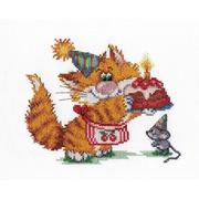 """Набор для вышивания крестом М.П. Студия """"Рыжий кот. День рождение"""""""