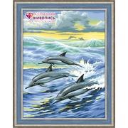 """Набор для выкладывания мозаики Алмазная живопись """"Семья дельфинов"""""""