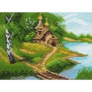 "Канва/ткань с нанесенным рисунком Матрёнин посад ""Церквушка у реки"""