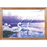 "Канва/ткань с нанесенным рисунком Магия канвы ""Лебеди на закате"""