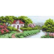 """Канва/ткань с нанесенным рисунком Матрёнин посад """"Домик в саду"""""""