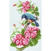 """Канва/ткань с нанесенным рисунком Матрёнин посад """"Птица на цветочной ветке"""""""
