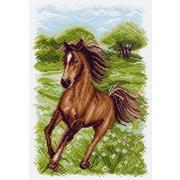 """Канва/ткань с нанесенным рисунком Матрёнин посад """"Пейзаж с лошадью"""""""