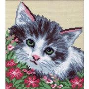"""Канва/ткань с нанесенным рисунком Матрёнин посад """"Кошка в цветах"""""""
