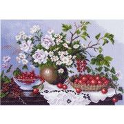 """Канва/ткань с нанесенным рисунком Матрёнин посад """"Натюрморт с ягодами"""""""