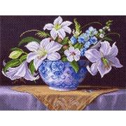 """Канва/ткань с нанесенным рисунком Матрёнин посад """"Белые лилии"""""""