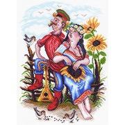 """Канва/ткань с нанесенным рисунком Матрёнин посад """"Двое на околице"""""""