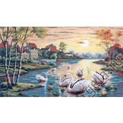 """Канва/ткань с нанесенным рисунком Gobelin-L """"Лебединый пруд"""""""