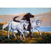 """Канва/ткань с нанесенным рисунком Gobelin-L """"Три коня"""""""