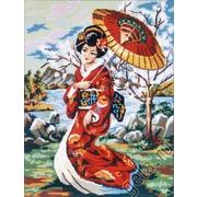 """Канва/ткань с нанесенным рисунком Gobelin-L """"Японская девушка с зонтиком"""""""