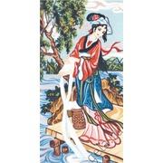 """Канва/ткань с нанесенным рисунком Gobelin-L """"Китаянка у реки"""""""