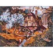 """Канва/ткань с нанесенным рисунком Gobelin-L """"На мельнице весной"""""""
