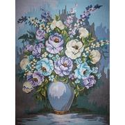 """Канва/ткань с нанесенным рисунком Gobelin-L """"Букет в синих тонах"""""""