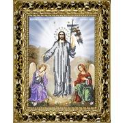 Канва/ткань с нанесенным рисунком Вышиваем бисером Принт икона Воскресение Христово