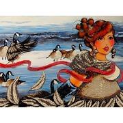"Канва/ткань с нанесенным рисунком Глурия (Астрея) ""Зимний пруд"""