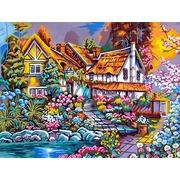 "Канва/ткань с нанесенным рисунком Gobelin-L ""Домик в цветах"""