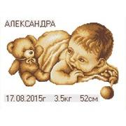 """Канва/ткань с нанесенным рисунком Конёк """"С рождением ребенка"""""""