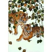 """Канва/ткань с нанесенным рисунком Конёк """"Пара тигров"""""""