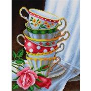 """Набор для выкладывания мозаики Вышиваем бисером """"Чашки с розами"""""""