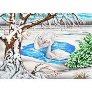 "Канва/ткань с нанесенным рисунком Конёк ""Лебеди на пруду"""
