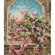 "Канва/ткань с нанесенным рисунком Матрёнин посад ""Розовый куст"""