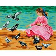 """Канва/ткань с нанесенным рисунком Gobelin-L """"Голуби и девочка"""""""
