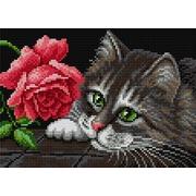 """Набор для выкладывания мозаики Вышиваем бисером """"Кот и роза"""""""