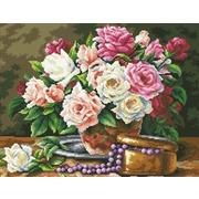 """Набор для выкладывания мозаики Паутинка """"Розовый букет и бусины"""""""