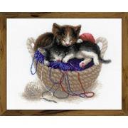 """Набор для вышивания крестом Риолис """"Котята в корзине"""""""
