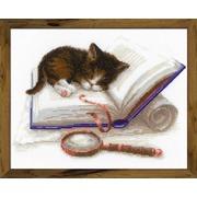 """Набор для вышивания крестом Риолис """"Котенок на книжке"""""""
